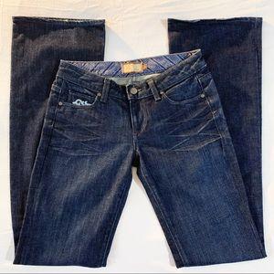 Paige jeans embroidered size 27 dark denim guc